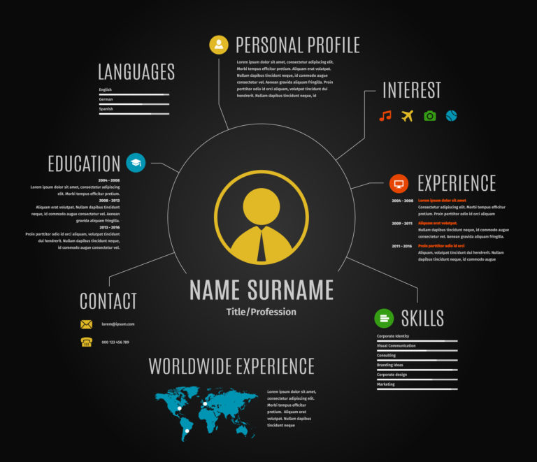 Vector resume web infographic template cv with world map and icons. Dark black background.