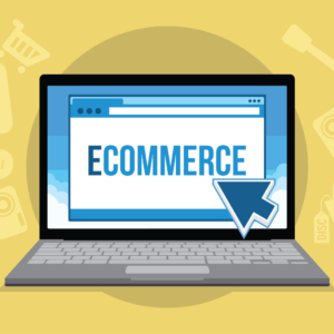ecommerce concept with laptop and icons vector illustration