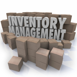 Inventory management words in 3d letters surrounded by cardboard boxes full of products in a warehouse or storage area to illustrate logistics or supply chain control