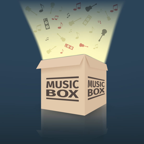 Cardboard music box, vector illustration