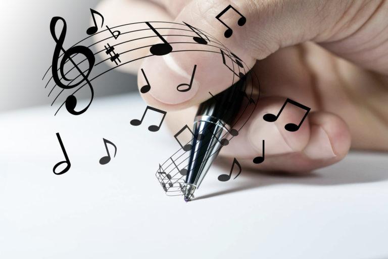 mano, scrivere, musica, suonare, comporre